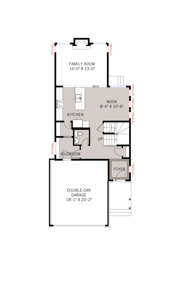 Base floorplan of Cole - Traditional A2 - 2,051 sqft, 3 - 4 Bedroom, 2.5 Bathroom - Cardel Homes Ottawa
