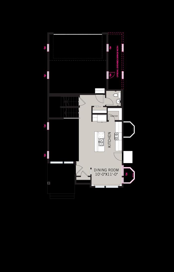 Base floorplan of Voletta - Elevation B - Fusion Prairie - 1,554 sqft, 2 Bedroom, 2.5 Bathroom - Cardel Homes Denver
