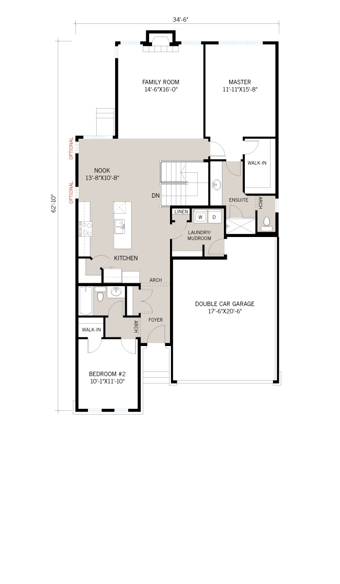 Base floorplan of Cameron_A3_700x460 - 1,535 sqft, 2 Bedroom, 2 Bathroom - Cardel Homes Ottawa