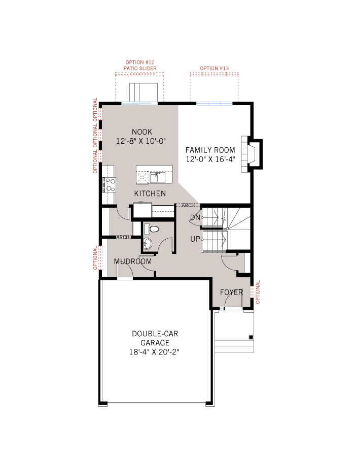 Base floorplan of Auden - Traditional A2 - 1,964 sqft, 3 - 4 Bedroom, 2.5 Bathroom - Cardel Homes Ottawa