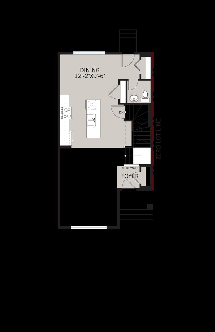 Base floorplan of Alder 2 - CB-Farmhouse C3 - 1,408 sqft, 3 Bedroom, 2.5 Bathroom - Cardel Homes Calgary