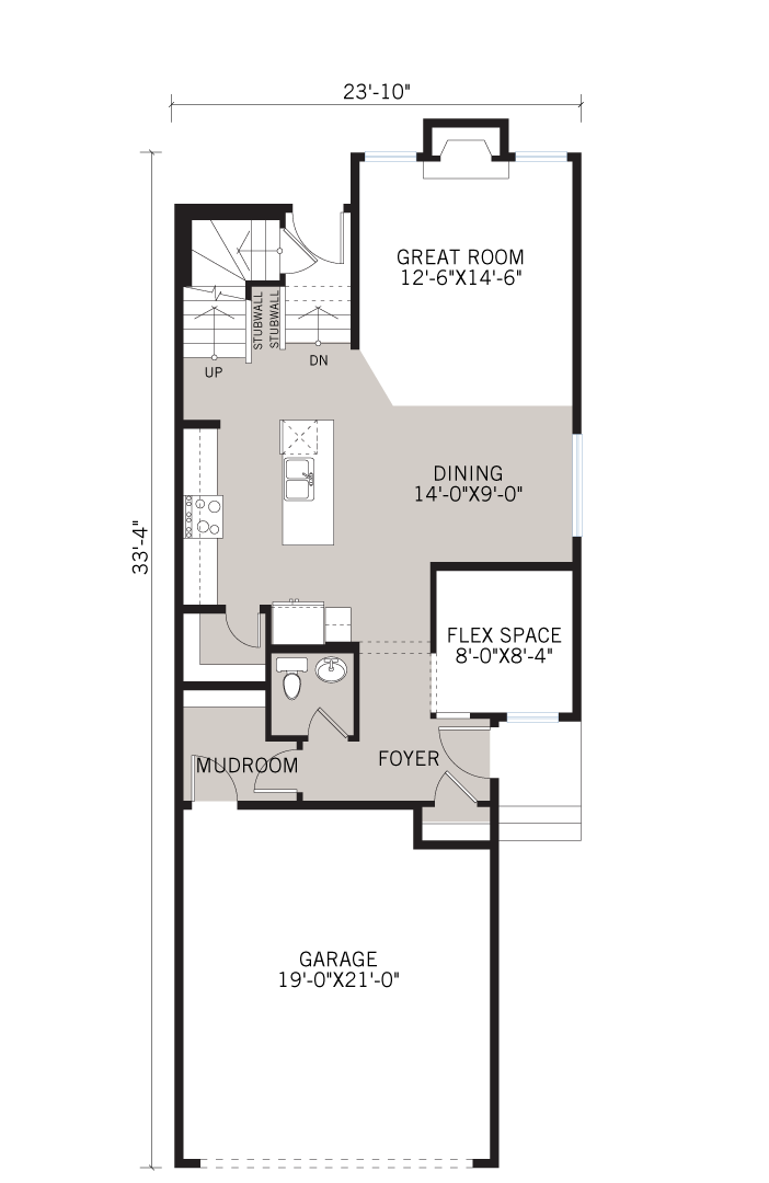 Base floorplan of Sereno 2 - Elevation F1 - 2,048 sqft, 3 Bedroom, 2.5 Bathroom - Cardel Homes Calgary