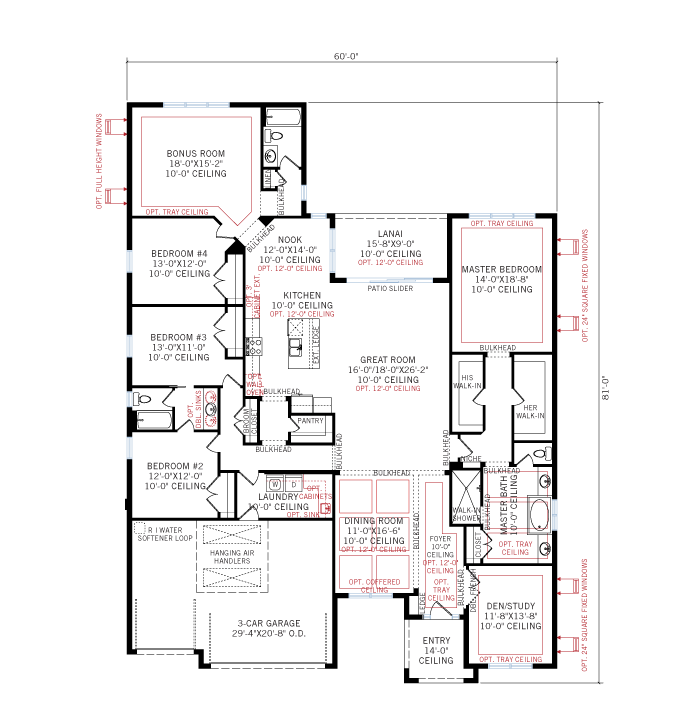 Base floorplan of Savannah_Traditional_700x460 - 3,308 sqft, 4 Bedroom, 3 Bathroom - Cardel Homes Tampa