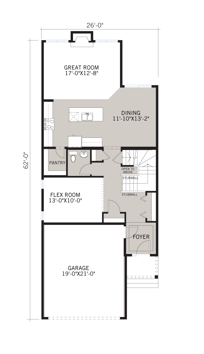 Base floorplan of Alloy - CB-Prairie C2 - 2,366 sqft, 3 Bedroom, 2.5 Bathroom - Cardel Homes Calgary