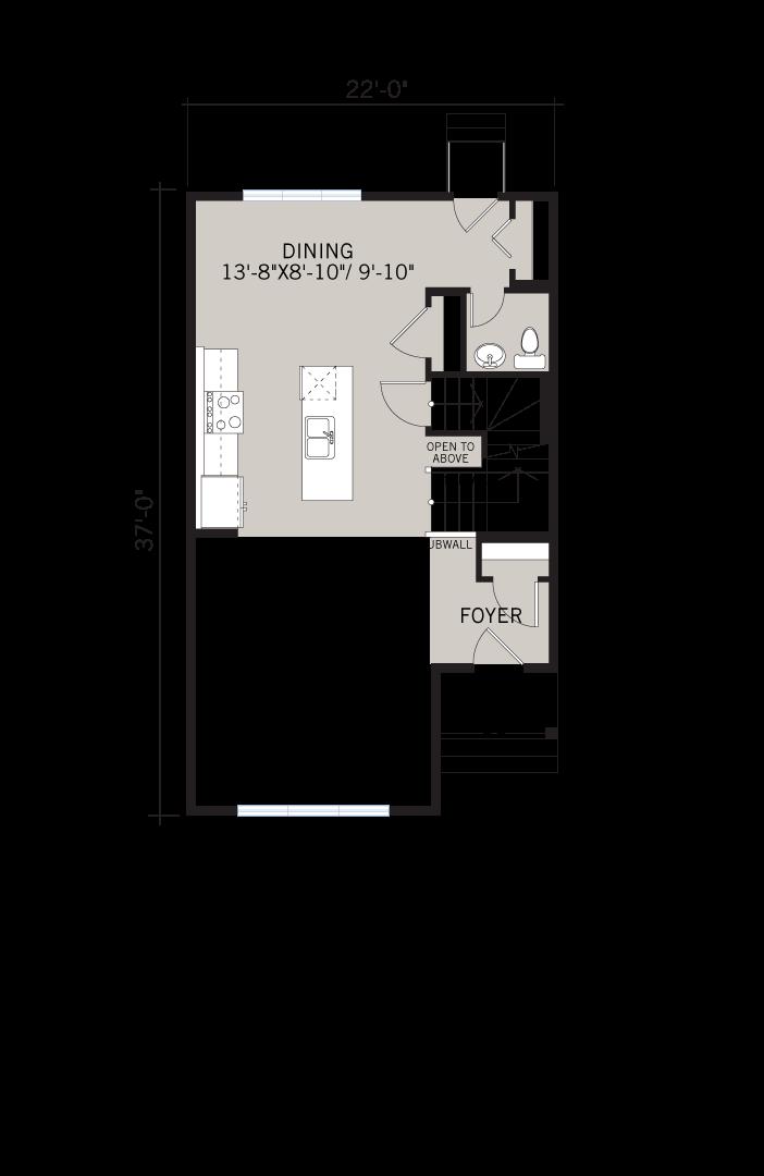 Base floorplan of Alder 3 - CB-Farmhouse C3 - 1,553 sqft, 3 Bedroom, 2.5 Bathroom - Cardel Homes Calgary