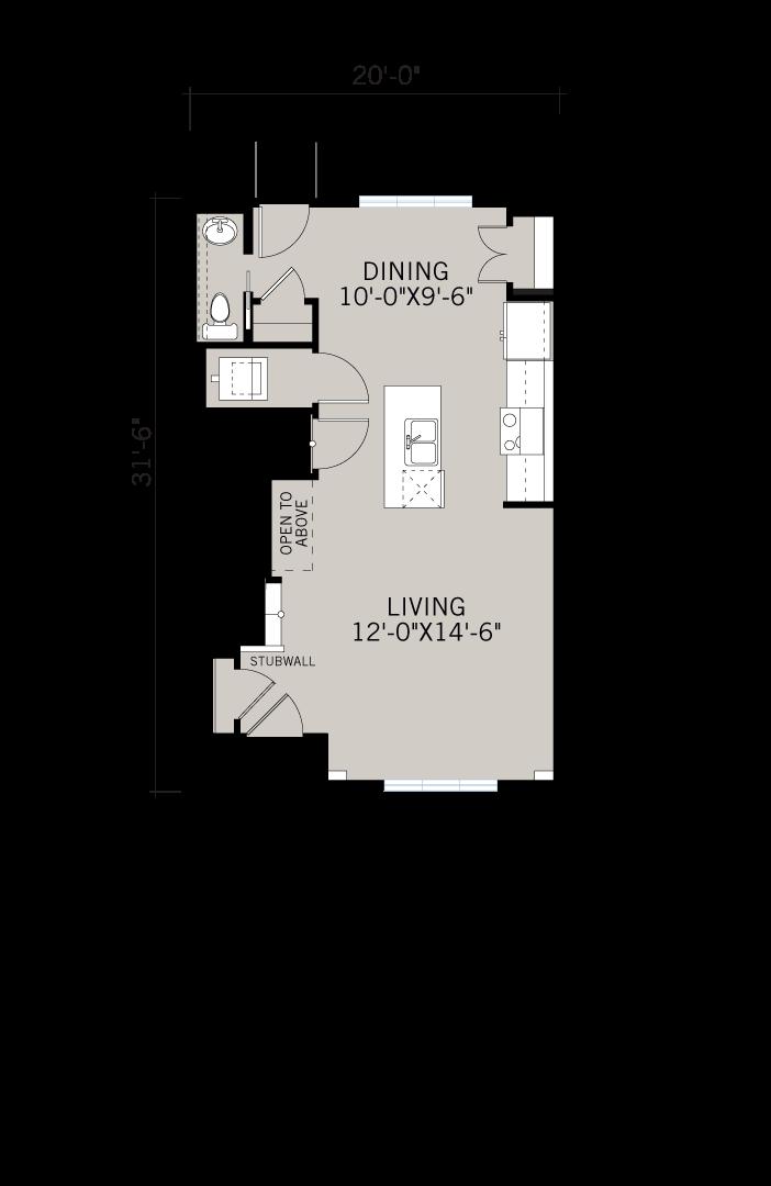 Base floorplan of REENA - Elevation F1 - 1,233 sqft, 3 Bedroom, 2.5 Bathroom - Cardel Homes Calgary