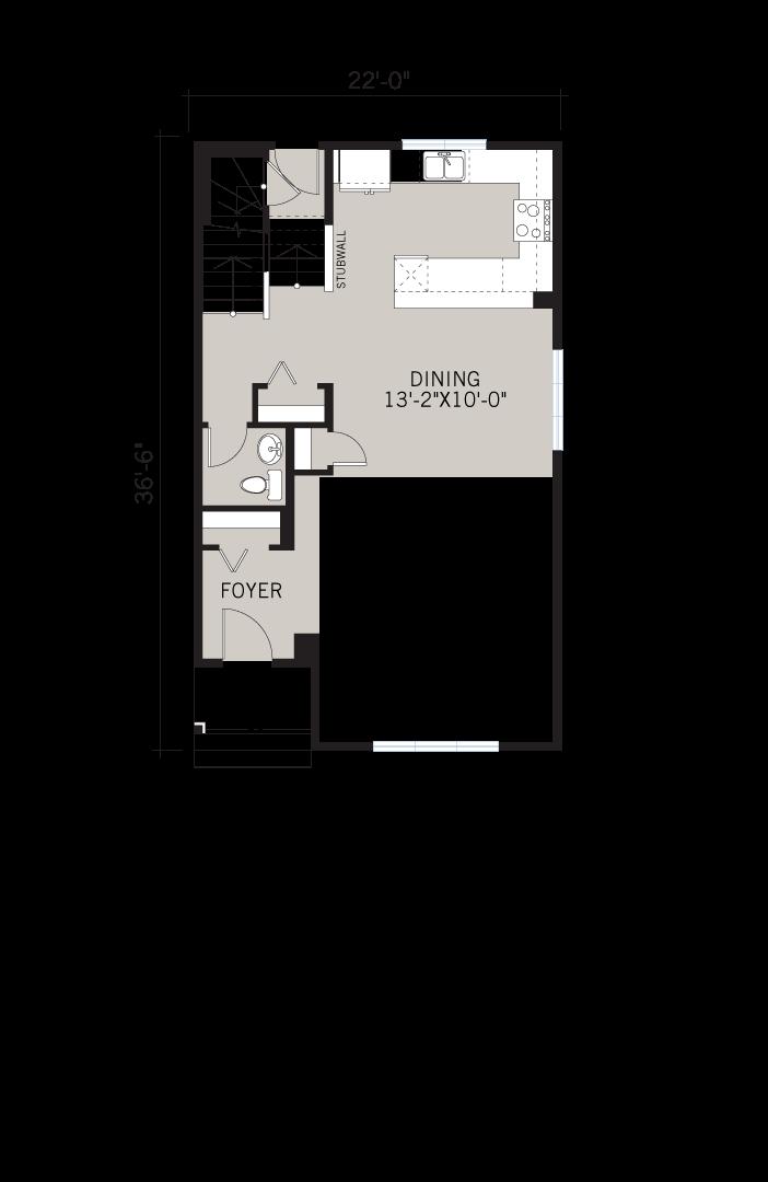 Base floorplan of Sage 2 - CB-Prairie C2 - 1,588 sqft, 3 Bedroom, 2.5 Bathroom - Cardel Homes Calgary