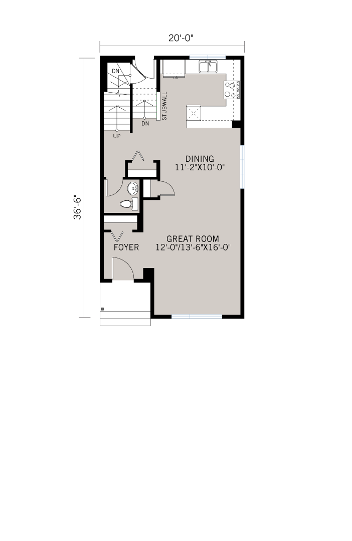 Base floorplan of SAGE - Elevation A - 1,573 sqft, 3 Bedroom, 2.5 Bathroom - Cardel Homes Denver