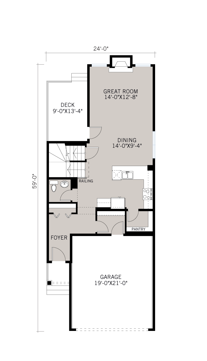 Base floorplan of Birch - SP - Shingle S1 - 1,806 sqft, 3 Bedroom, 2.5 Bathroom - Cardel Homes Calgary
