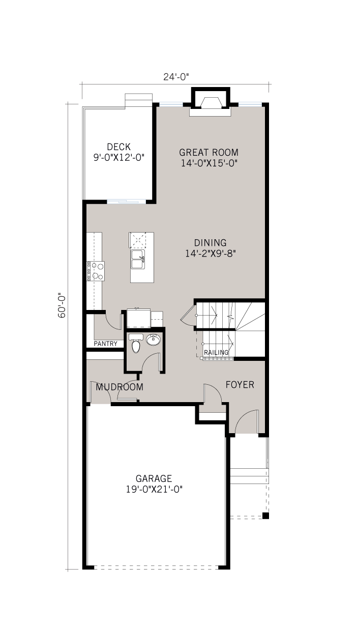 Base floorplan of Cottonwood - SP - Shingle S1 - 2,499 sqft, 4 Bedroom, 3.5 Bathroom - Cardel Homes Calgary