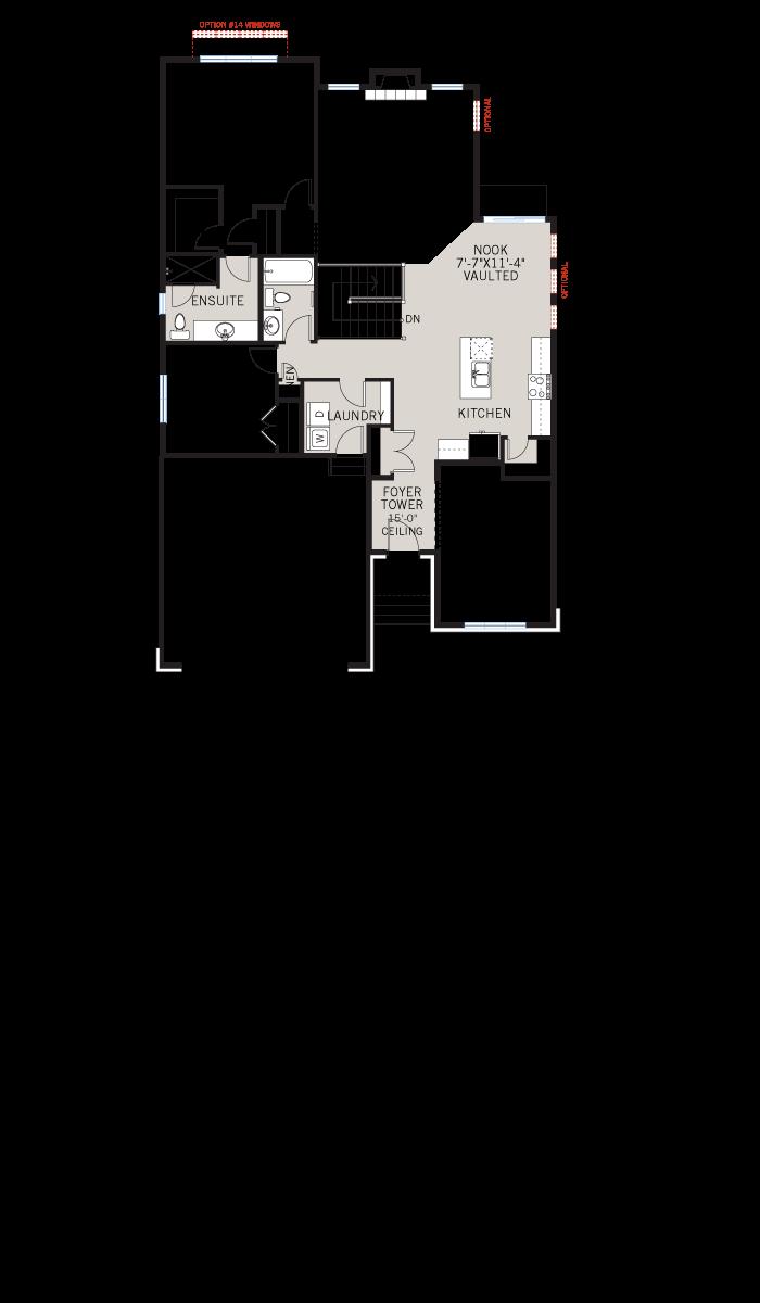Base floorplan of Bowland-A1-Canadiana-700x460 - 1,644 sqft, 2 - 3 Bedroom, 2 Bathroom - Cardel Homes Ottawa