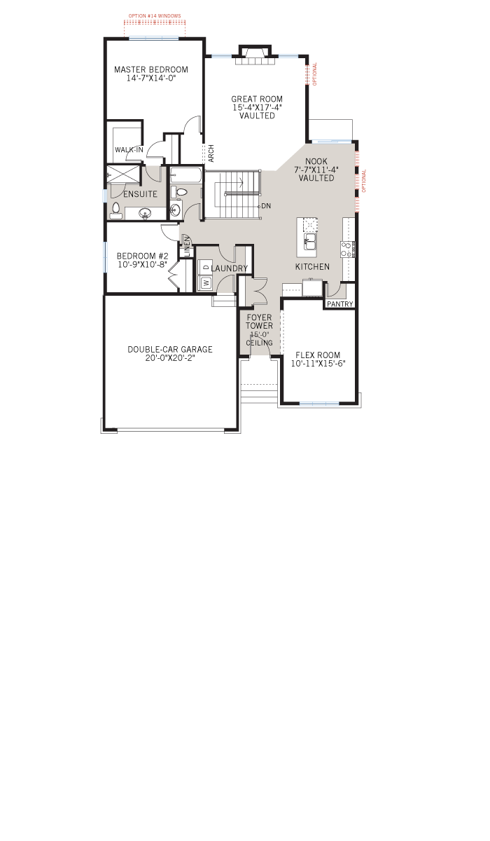 Base floorplan of Bowland CS - Canadiana A1 - 1,644 sqft, 2 - 3 Bedroom, 2 Bathroom - Cardel Homes Ottawa