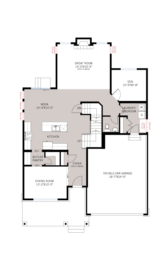 Base floorplan of Oxford - A3 Modern Urban - 2,552 sqft, 3 - 4 Bedroom, 2.5 Bathroom - Cardel Homes Ottawa