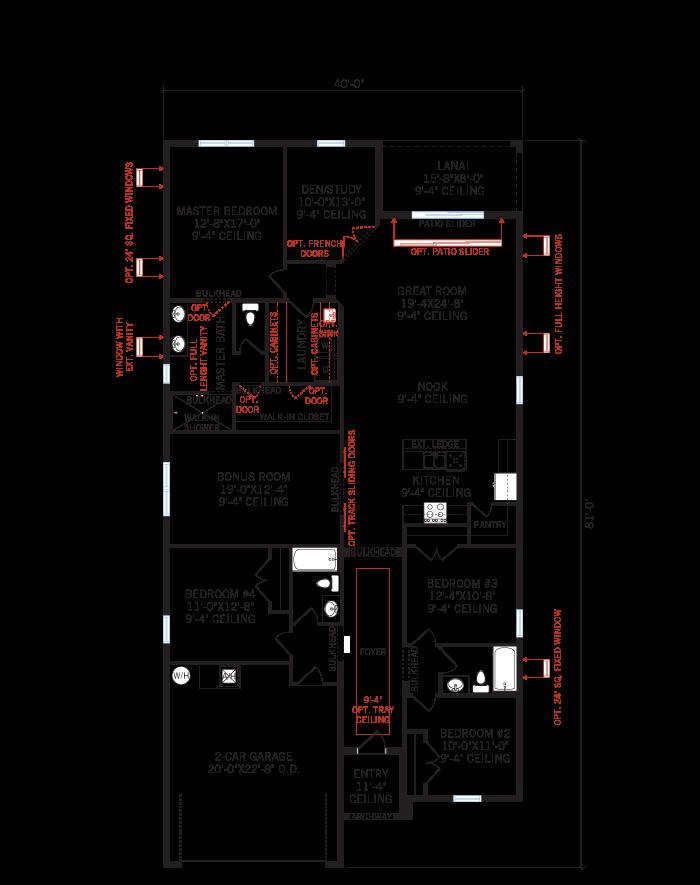 Base floorplan of Southampton 2 - Traditional Cottage - 2,500 sqft, 4 - 5 Bedroom, 3 Bathroom - Cardel Homes Tampa