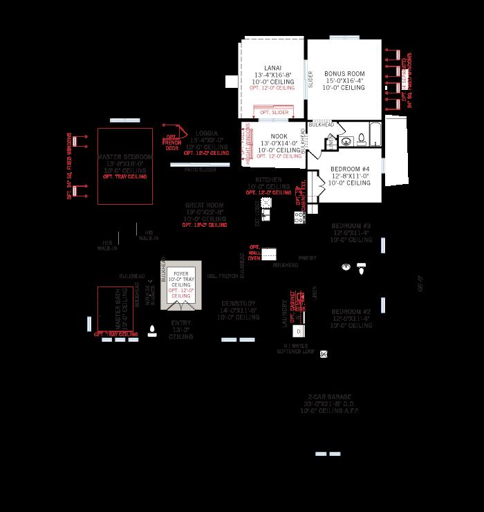 Base floorplan of Martin - Traditional - 2,533 - 2,805 sqft, 3-4 Bedroom, 3 Bathroom - Cardel Homes Tampa