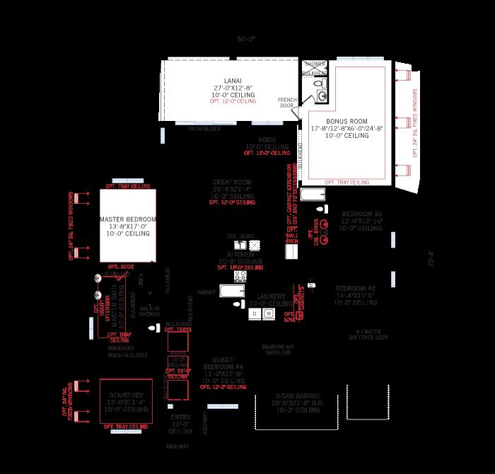 Base floorplan of Wesley ENCL - Traditional - 3,070 - 3,228 sqft, 4 Bedroom, 4 Bathroom - Cardel Homes Tampa