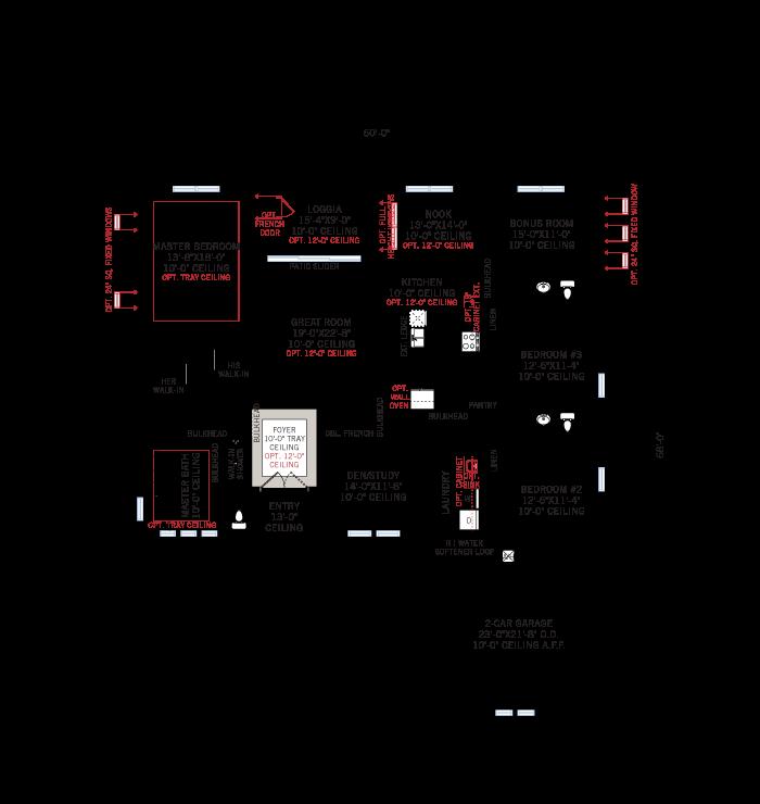 Base floorplan of Martin_Traditional_700x460 - 2,533 - 2,805 sqft, 3-4 Bedroom, 3 Bathroom - Cardel Homes Tampa