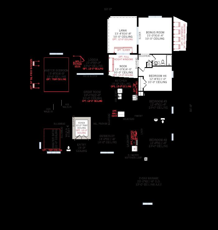 Base floorplan of Martin-West Indies - 2,805 sqft, 3-4 Bedroom, 3 Bathroom - Cardel Homes Tampa