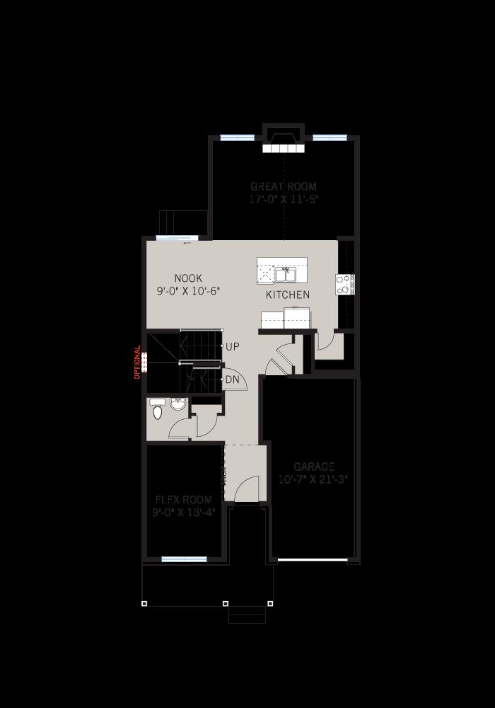 Base floorplan of Langston - Traditional A2 - 1,822 sqft, 3 Bedroom, 2.5 Bathroom - Cardel Homes Ottawa