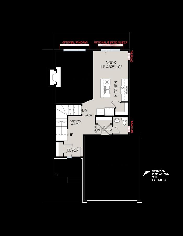 Base floorplan of Billings EW - Canadiana A2 - 1,755 sqft, 3 Bedroom, 2.5 Bathroom - Cardel Homes Ottawa