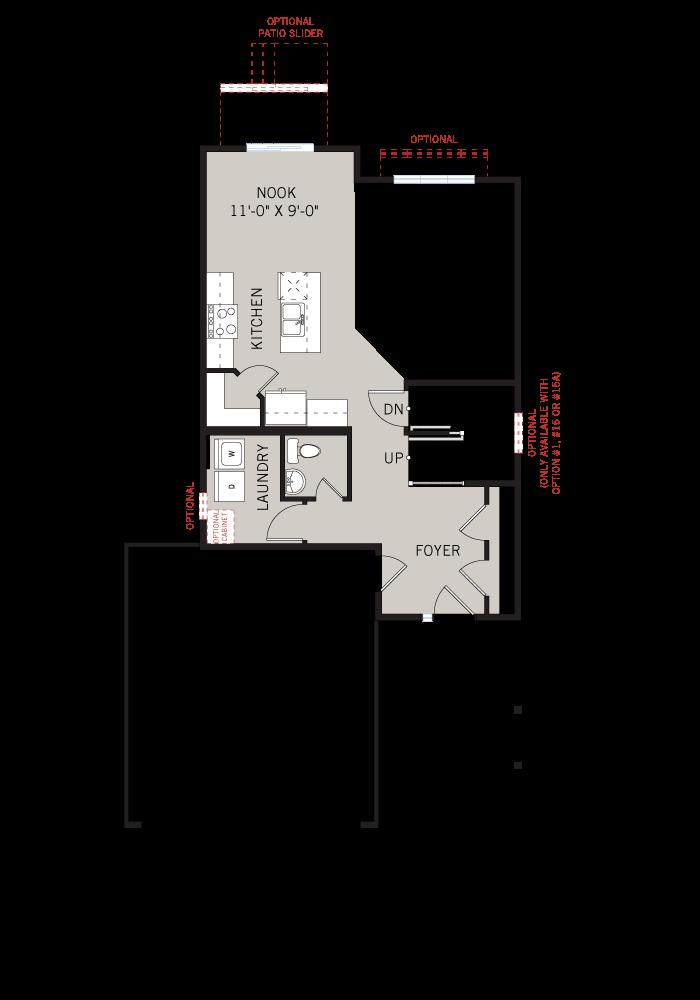 Base floorplan of Ashmont - Modern A3 - 1,716 sqft, 3 - 4 Bedroom, 2.5 Bathroom - Cardel Homes Ottawa