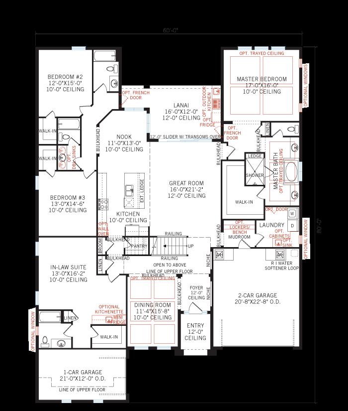 Base floorplan of Montego - Tuscan - 3,800 sqft, 4 - 5 Bedroom, 4.5 - 5 Bathroom - Cardel Homes Tampa