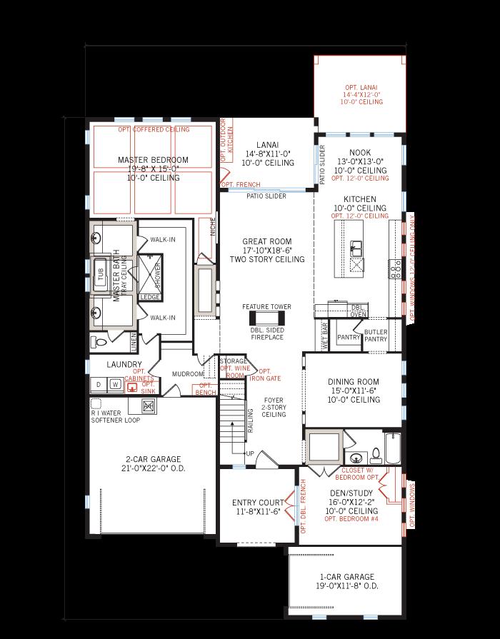 Base floorplan of Palazzo - Mizner - 3,730 - 3,788 sqft, 3 - 5 Bedroom, 3 - 4 Bathroom - Cardel Homes Tampa