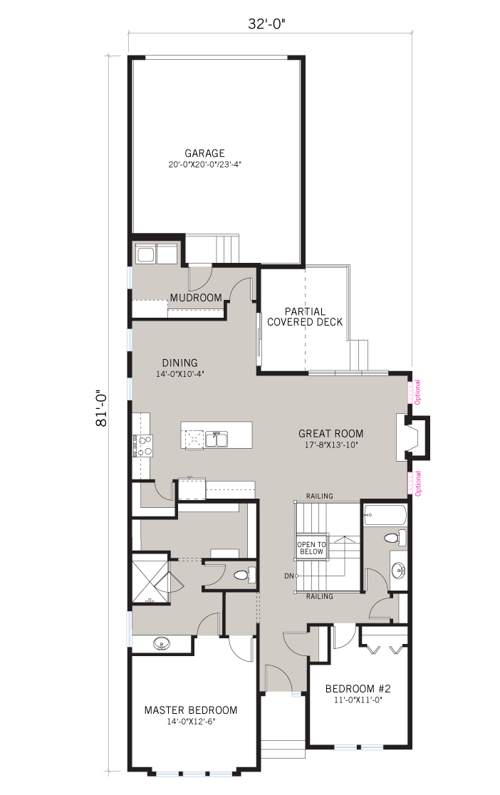 Base floorplan of CAMBRIA COURT - Rustic S2 - 2,688 sqft, 4 Bedroom, 3 Bathroom - Cardel Homes Calgary
