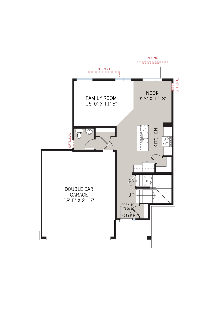 Base floorplan of Tala - Traditional A2 - 1,556 sqft, 3 Bedroom, 2.5 Bathroom - Cardel Homes Ottawa