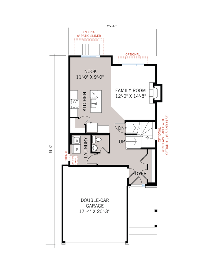 Base floorplan of Baxter - A3 Modern - 1,702 sqft, 3 Bedroom, 2.5 Bathroom - Cardel Homes Ottawa