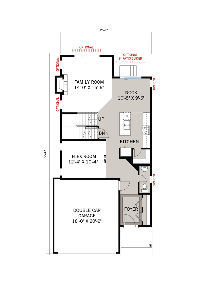 Base floorplan of Lowell - Modern A3 - 2,132 sqft, 3 Bedroom, 2.5 Bathroom - Cardel Homes Ottawa