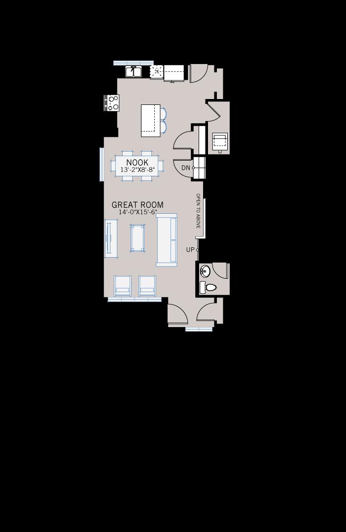 Base floorplan of Denim - CB-Prairie C2 - 1,538 sqft, 3 Bedroom, 2.5 Bathroom - Cardel Homes Calgary