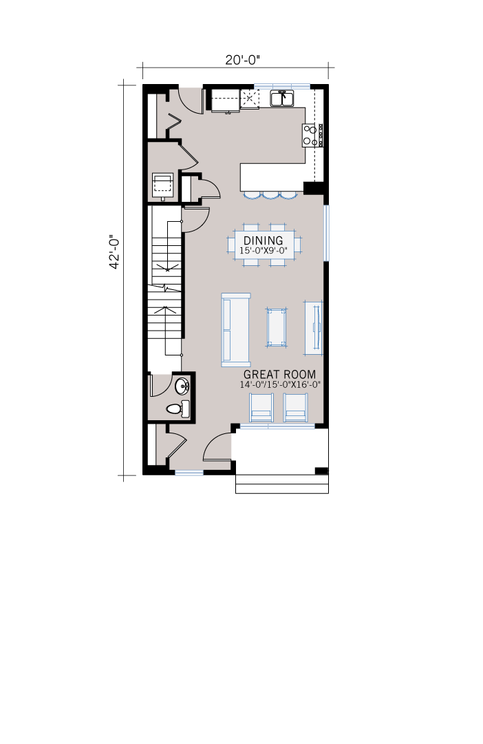 Base floorplan of Tarmon - Urban Modern F3 - 1,620 sqft, 3 Bedroom, 2.5 Bathroom - Cardel Homes Calgary