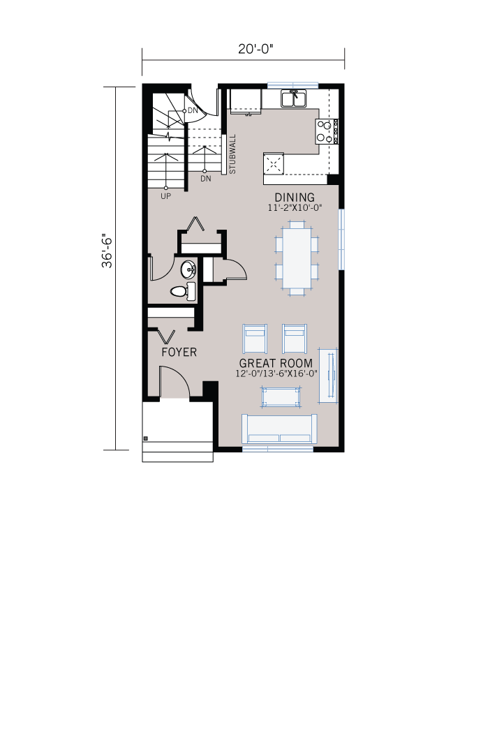 Base floorplan of SAGE - CB-Prairie C2 - 1,437 sqft, 3 Bedroom, 2.5 Bathroom - Cardel Homes Calgary