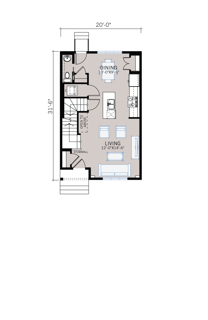 Base floorplan of REENA - CB-Prairie C2 - 1,233 sqft, 3 Bedroom, 2.5 Bathroom - Cardel Homes Calgary