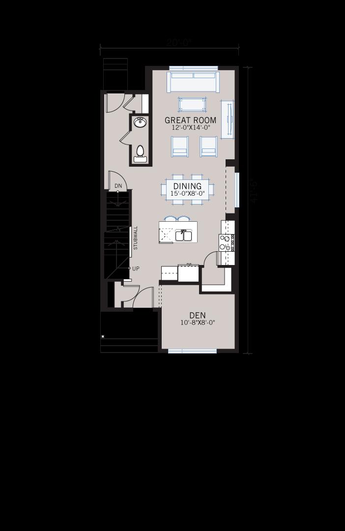 Base floorplan of Mensa - F2 - 1,538 sqft, 3 Bedroom, 2.5 Bathroom - Cardel Homes Calgary