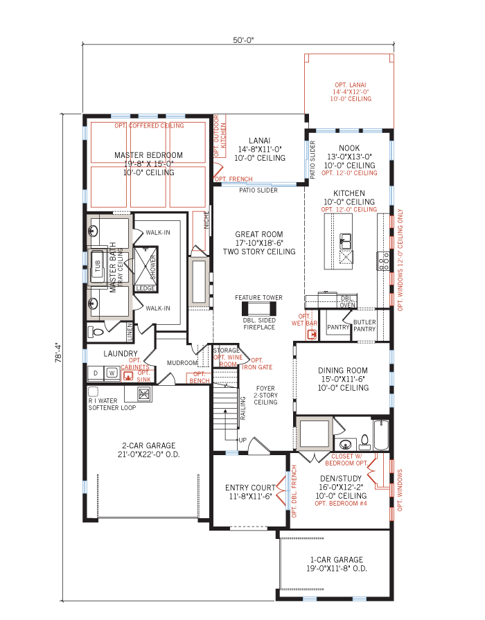 Base floorplan of Palazzo - Italian Villa - 3,730 - 3,788 sqft, 3 - 5 Bedroom, 3 - 4 Bathroom - Cardel Homes Tampa