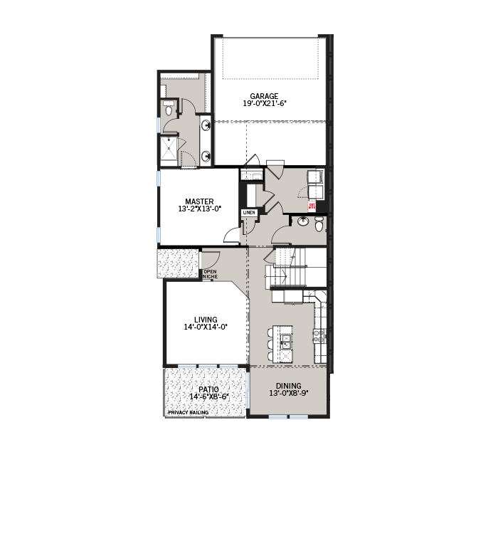 Base floorplan of Juniper - Elevation A - 1,727 sqft, 2 Bedroom, 2.5 Bathroom - Cardel Homes Denver