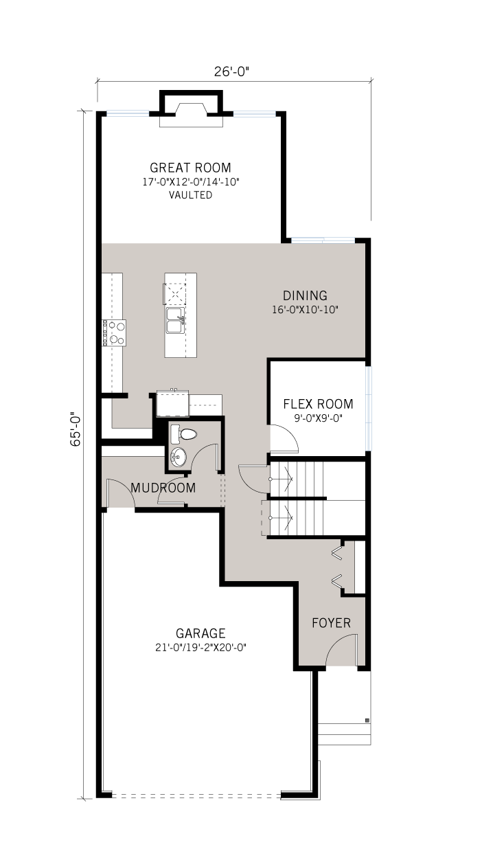 Base floorplan of VINTAGE-F2-700px - 2,373 sqft, 3 Bedroom, 2.5 Bathroom - Cardel Homes Calgary