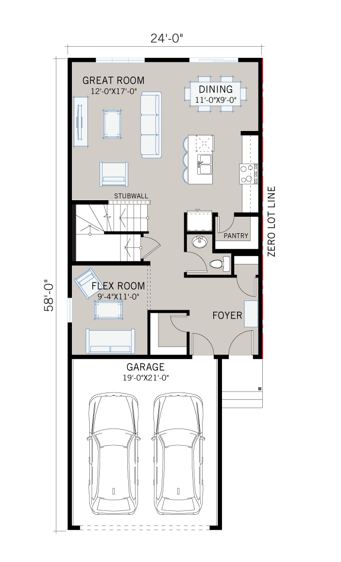 Base floorplan of EVO 1 - Urban Farmhouse F2 - 2,014 sqft, 3 Bedroom, 2.5 Bathroom - Cardel Homes Calgary