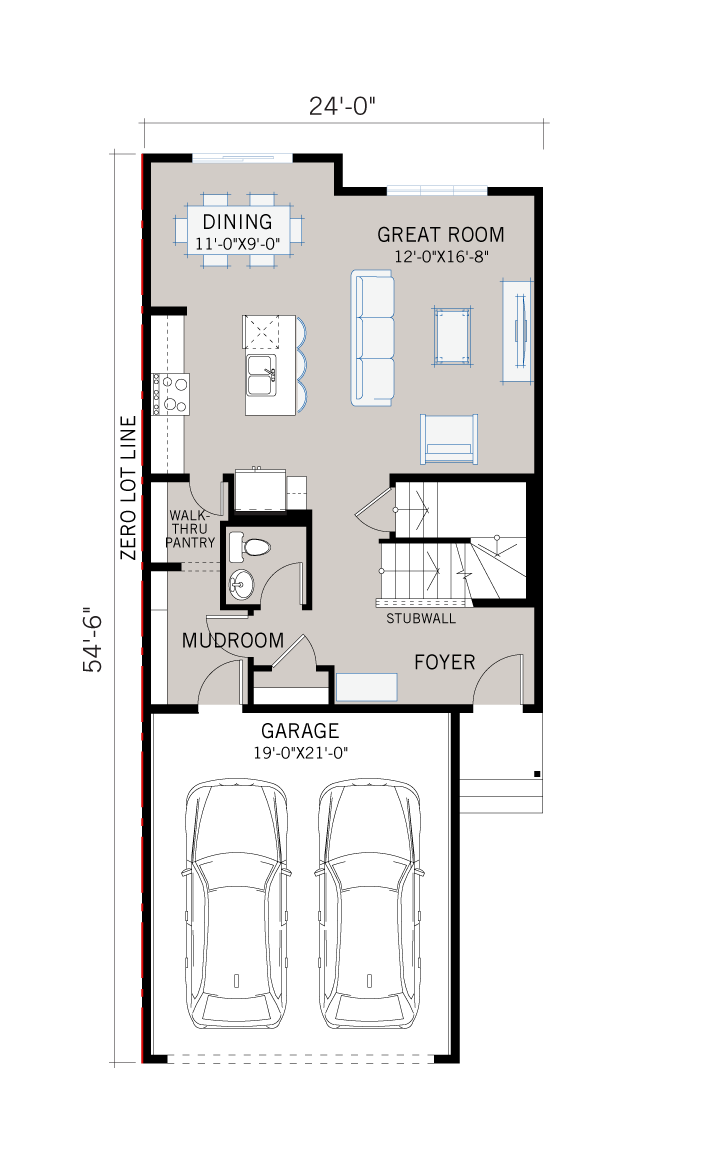 Base floorplan of EVO 2 - Prairie C2 - 1,819 sqft, 3 Bedroom, 2.5 Bathroom - Cardel Homes Calgary