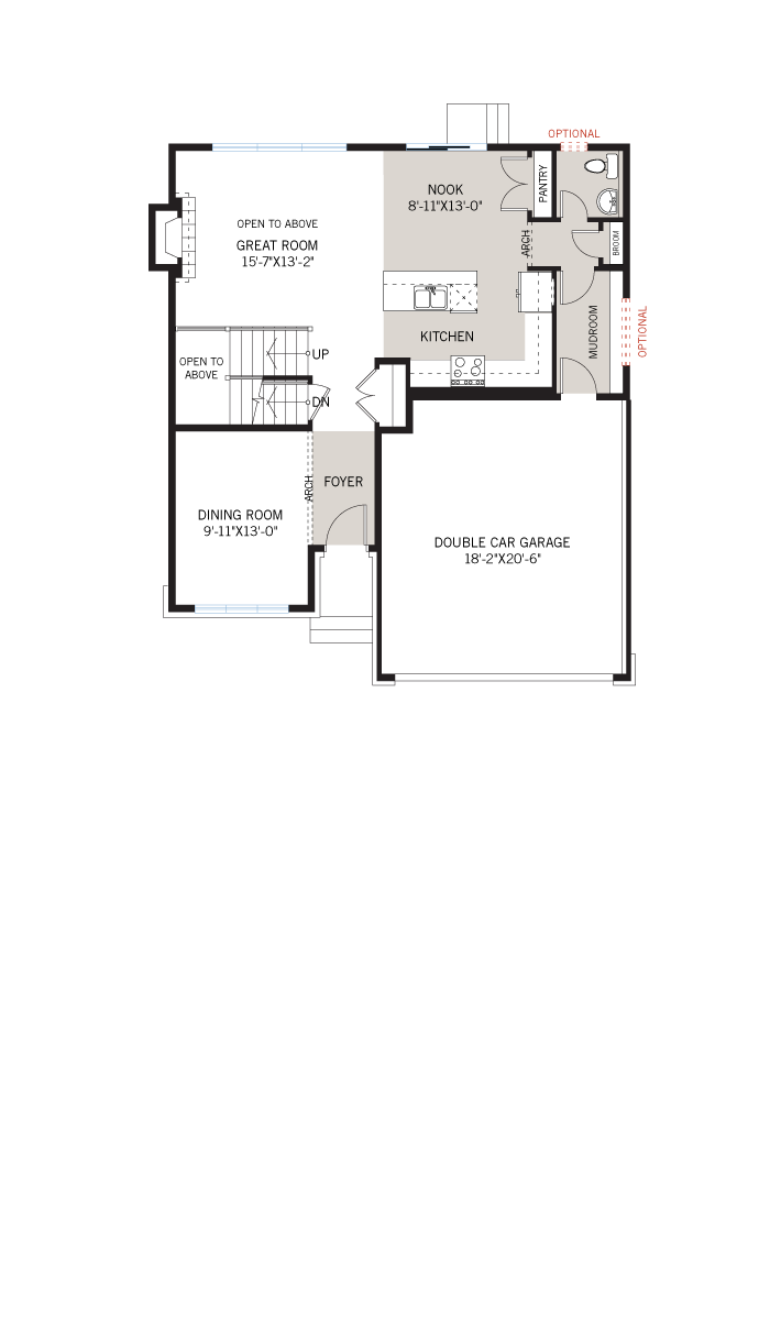 Base floorplan of Lincoln - A1 Canadiana - 1,944 sqft, 3 - 4 Bedroom, 2.5 Bathroom - Cardel Homes Ottawa