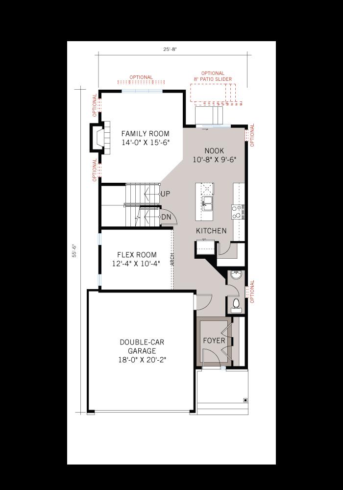 Base floorplan of EW-LOWELL A3 MODERN - 2,132 sqft, 3 - 4 Bedroom, 2.5 Bathroom - Cardel Homes Ottawa