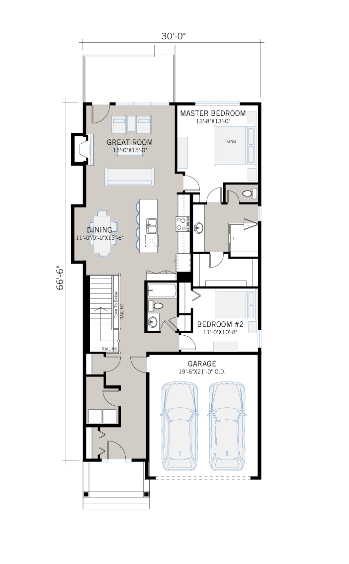 Base floorplan of Cypress - Cottage Prairie S3 - 2,293 sqft, 3 Bedroom, 3 Bathroom - Cardel Homes Calgary