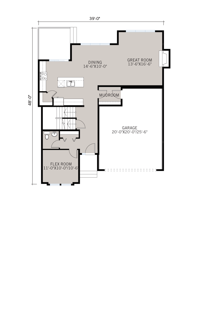 Base floorplan of Harmon - Shingle S1 - 2,448 sqft, 3 Bedroom, 2.5 Bathroom - Cardel Homes Calgary