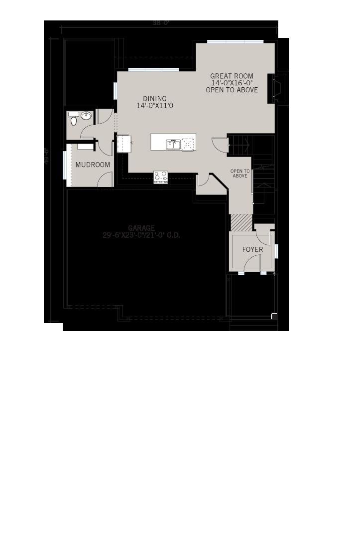 Base floorplan of Patagon - Rustic S2 - 2,351 sqft, 3 Bedroom, 2.5 Bathroom - Cardel Homes Calgary