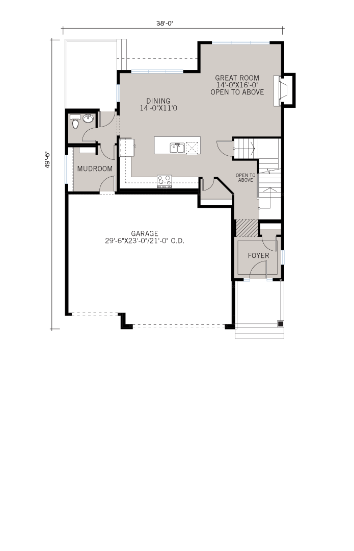 Base floorplan of Patagon - Shingle S1 - 2,351 sqft, 3 Bedroom, 2.5 Bathroom - Cardel Homes Calgary