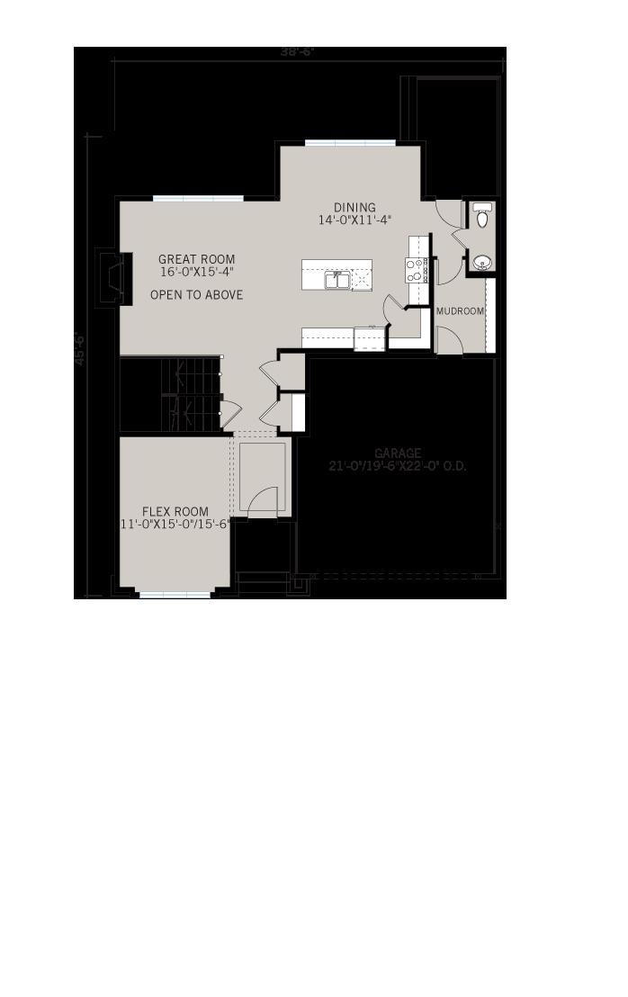 Base floorplan of Tamarack - Shingle S1 - 2,296 sqft, 3 Bedroom, 2.5 Bathroom - Cardel Homes Calgary
