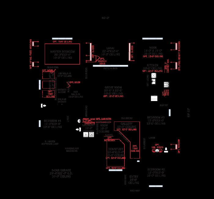 Base floorplan of Henley ENCL - Traditional - 3,000 - 3,939 sqft, 4-5 Bedroom, 3-4 Bathroom - Cardel Homes Tampa