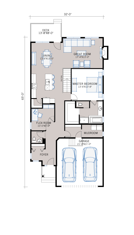 Base floorplan of ASPEN-SP2016 - Shingle S1 - 1,531 sqft, 3 Bedroom, 2.5 Bathroom - Cardel Homes Calgary